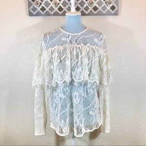 Who What Wear Boho Top Ivory Lace Festival, XL